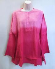 Hippie Bohemian Gypsy Festival India Ombre Embroidered Funky Kurta Top XL Pink