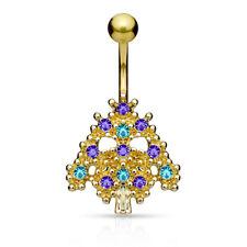 Azul & Aqua Engaste Cristal árbol de Navidad 316L Acero Quirúrgico