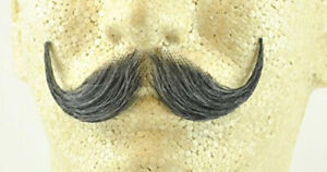 Grey Handlebar Moustache 100% Human Hair Handle Bar Costume Accessory Adult