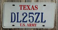 """TEXAS """"U.S. ARMY"""" LICENSE PLATE 25ZL (AUTHENTIC STATE ISSUED PLATE)"""