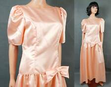 80s Prom Dress Sz M Vintage Long Peach Satin Gown with Train Princess Costume