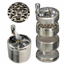 """Herb Grinder SILVER for Tobacco 4 Piece 2"""" Zinc Hand Muller Spice Silver 4pc"""