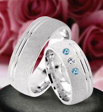 2 Trauringe Silber 925 mit echten Blautopas und echten Diamant & Gravur  J71-3BD