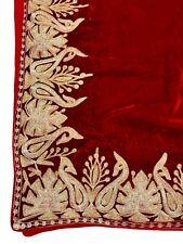 Red Velvet Cape, Royal Kashmiri Orni, Girls Shawl, Red Velvet Embroidered Poncho