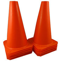 "(10) 9"" Cones Football Training Pitch Marker Traffic Space Field Agility ORANGE"