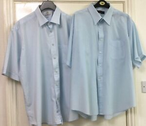 SHIRTS SHORT SLEEVED x 2 BLUE SIZE 18 INCH COLLAR