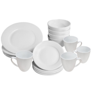 16 Piece White Dinner Set Plates Bowls and Cups Porcelain Dinnerware Set M&W