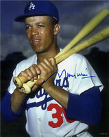 Maury Wills signed Los Angeles Dodgers 8x10 Photo (bats on shoulder)