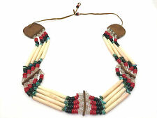 Native American 4 Row Bone Hairpipe Turquoise Bead Leather Choker Belt Headband