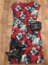 Laura Ashley Red Floral Print Short Sleeve Midi Tea Dress UK12 Pockets Lined A5