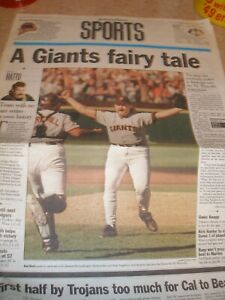 San Francisco Examiner Sports Section 9/28/97 - Giants Win NL West 1st in 8 Yrs