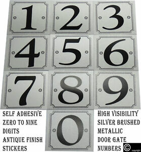 Self Adhesive House & Gate Numbers Digits 0-9 Signs Silver Stickers Door Wall Uk