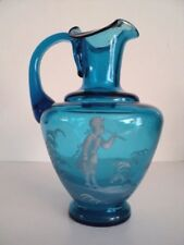 Mary Gregory Blue Pitcher Victorian with gold trim Hand blown and applied handle