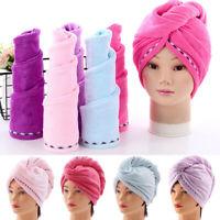 LONG HAIR WRAP HEAD TOWEL TURBIE TURBAN TWIST Rapid DRYING CAP HAT LOOP BUTTON