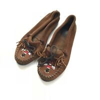 Minnetonka Beaded Moccasins Brown Leather Suede Thunderbird  Women 6 shoes