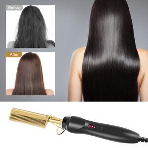 Electric Beard Hair Straightener Brush Comb Hair Flat Curling Iron Heated Comb