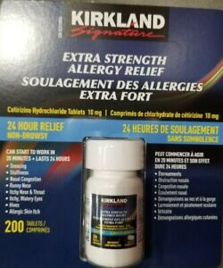 Kirkland Extra Strength Allergy Relief 10mg 200 Tablets gen Reactine exp 2022