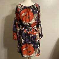 Nine West Womens Long Sleeve Red Purple Floral Belted Tie Waist Dress Size 6