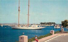 Newport Harbor California~Girl Ponders Big Sailing Ship~Lido Isle~1960s Postcard