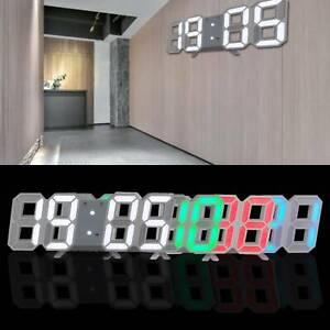 USB LED Digital Table Wall Clock Large 3D Display Alarm Clock Brightness Dimmer