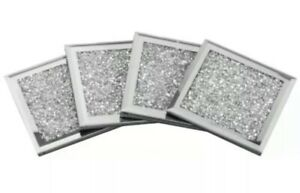 Set Of 4 Square Silver Mirrored Crushed Crystal Coasters Sparkle GIFT Drinks Mat