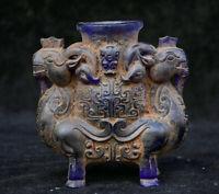 11.5 cm chinois vieux glaçure colorée Dynastie Double mouton bête Zun Pot Vase