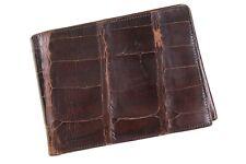 VTG GENUINE ALLIGATOR Brown Leather Card Ticket Holder Bifold Wallet