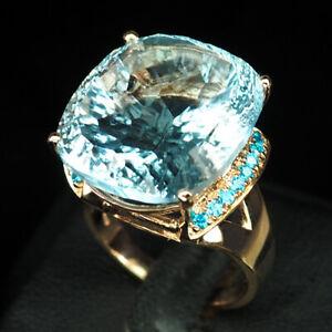 AQUAMARINE AQUA BLUE CONCAVE 24.10 CT. 925 STERLING SILVER ROSE GOLD RING SZ 6.5