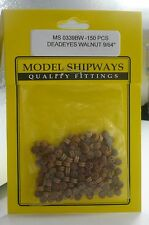 """Model Shipways Fittings MS 0339BW Walnut Deadeyes 9/64"""" (3.5mm) 150 Per PK"""