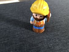 """Fisher Price Little People Male Bearded Construction Worker 3"""" Tall Figure 2015"""