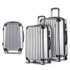 Wanderlite 3 Piece Lightweight Hard Suit Case Luggage - Silver
