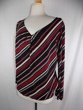 WRAPPER WOMEN'S Black White Maroon Stripe Sz 3X Top Blouse SHIRT