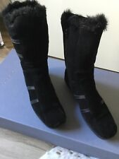 Aquatalia Womens Shearling Leather Trim Weather Proof boots Black Suede size 8.5