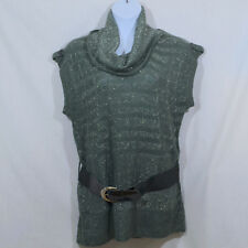 NWT Women's Plus 2X Pacific Heights Gray Short Sleeve Belt/Buckle Cowl Neck Top