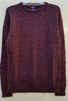 """Men`s New Boston Crew Lambswool Rich Cable Knit Jumper Size Large 42"""" Burgundy"""
