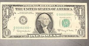 1963A $1 Chicago 4 DIGIT STAR * 6-0's  Fancy Low Serial # CIRCULATED G000002300*