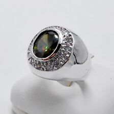 MEN RING GREEN PERIDOT SILVER 18K WHITE GOLD FILLED GP SOLITAIRE ESTATE DOME # 8