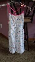 Lands end girls sundress medium 10-12 - white / pink - racerback - clean