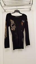 Ed Hardy long hooded sweater sz small black