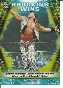 SHAWN MICHAELS 2020 TOPPS CHROME WWE SHOCKING WINS GOLD REFRACTOR #D/50!!
