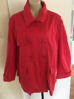 Ladies SARA Jacket Plus Size 20 Red Cotton Coat