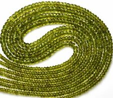 "NATURAL GEM PERIDOT 3-5MM FACETED RONDELLE BEADS 93CTS 17"" NECKLACE OLIVE GREEN"