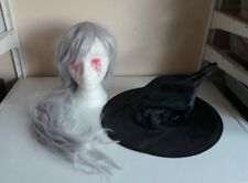 Job Lot Adult Evil Witch Sorceress Halloween Prop Fancy Dress Wig & Black Hats
