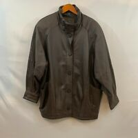 Vintage Jacqueline Ferrar Womens Brown Genuine Leather Jacket Coat Size Large