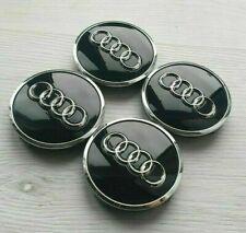 Audi 4x 77mm Felgendeckel 4L0601170 Nabenkappen Schwarz Chrom Radzierkappe