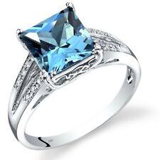 14K White Gold Swiss Blue Topaz Diamond Ring Princess Cut 3 Carats Size 7