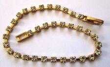 Joli bracelet couleur or bijou rétro rivière de cristaux diamant facette 3445