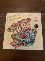 Vintage 1950's Happy Anniversary Greeting Card Bears