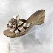 Boc By Born Women's Sandals Slides Metallic Gold Leather Low Heel Floral Size 11