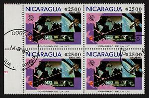 NICARAGUA, SCOTT # C999, USED CTO BLOCK OF 4 INTERNATIONAL ITU CONGRESS, AIRMAIL